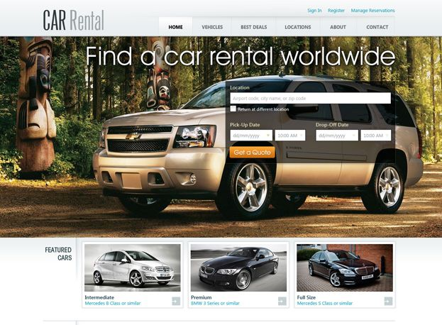 Free Car Rental Website Template Is Great Solution For Car Rental Or