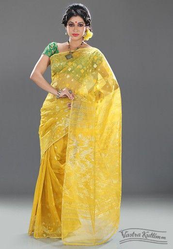 5629dce1ec5 Yellow Muslin Jaamdani Dhakai Saree with Zari | happy, sunny yellow ...