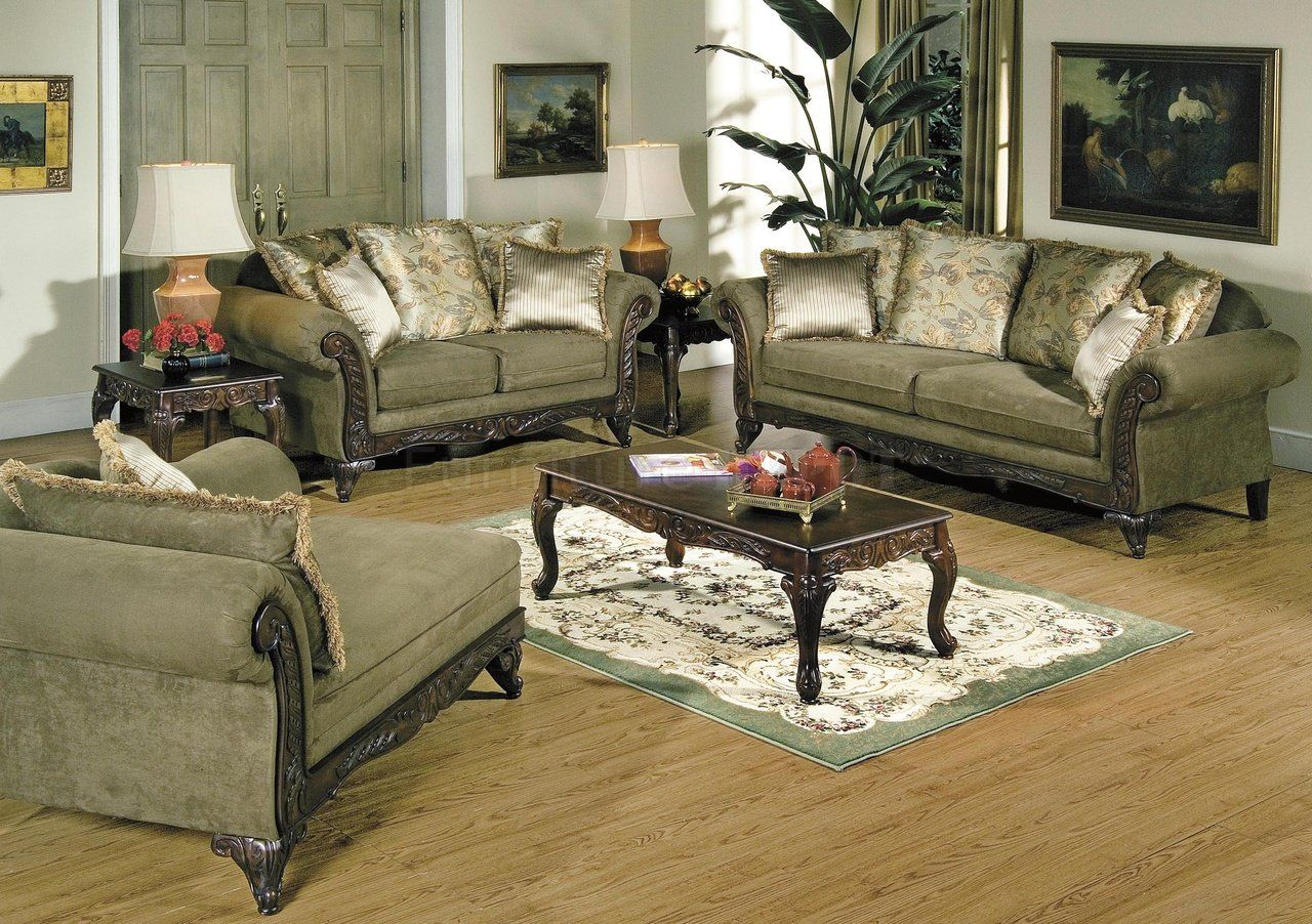 Traditional Living Rooms Living Room Alpine Microfiber Traditional Living Room Sofa