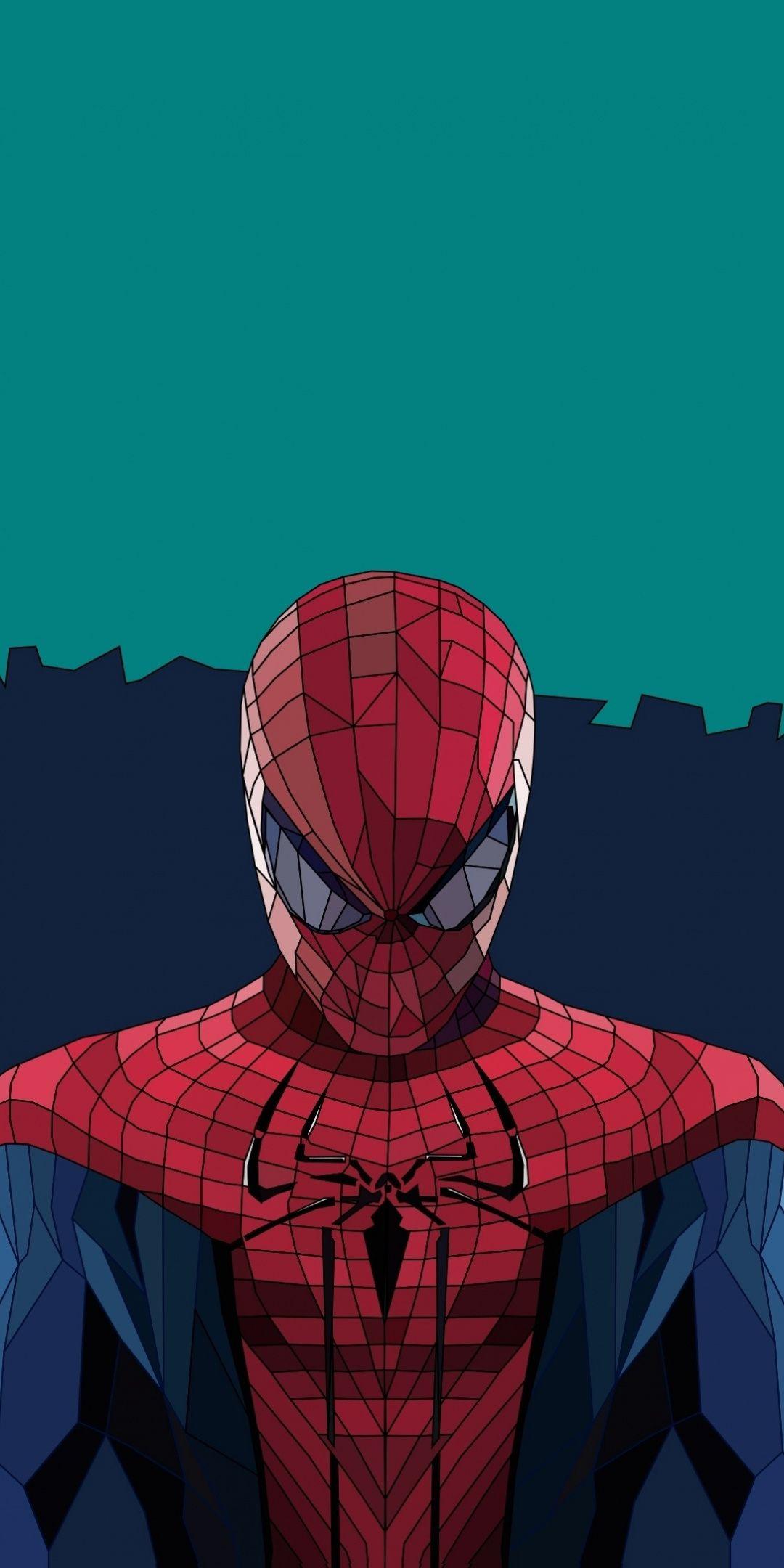 Download 1080x2160 wallpaper Spider-man, low poly, art ...