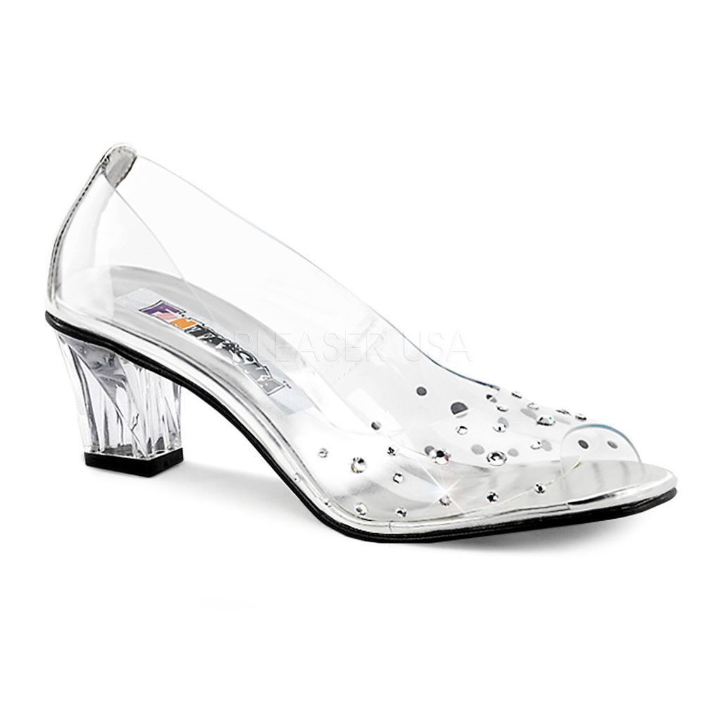 Clear Clear Clear Cinderella Glass Slippers Rhinestones Pageant Large Size scarpe   7a2bfb