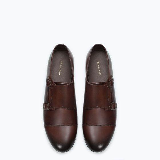 Man Zara Monk Strap Leather Shoe Owwqzg04