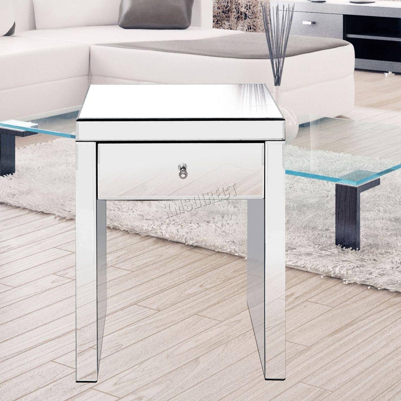 details zu westwood verspiegelt möbel glas nachttisch tisch mit