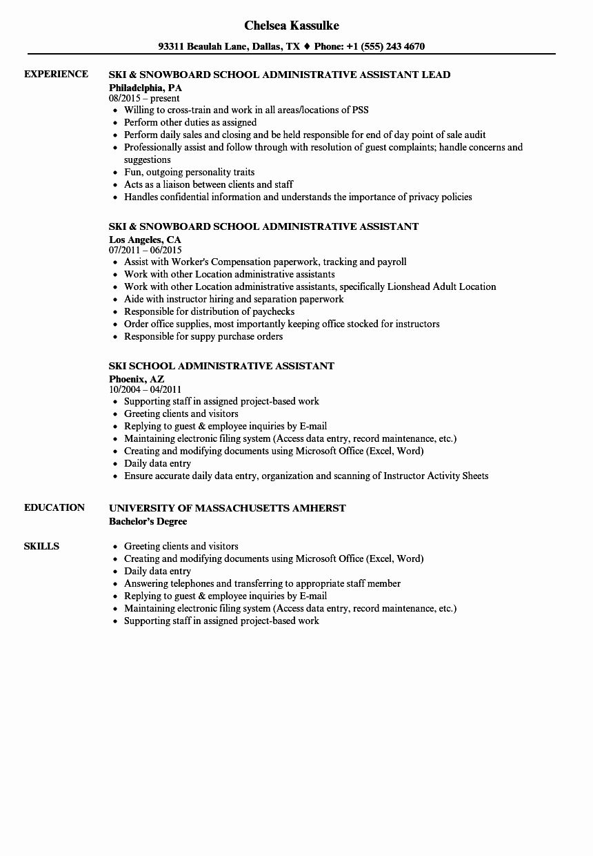 Admin assistant Job Description Resume Awesome 10 Resumes