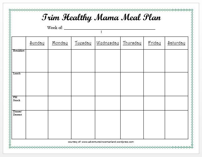 trim health mama diet printables