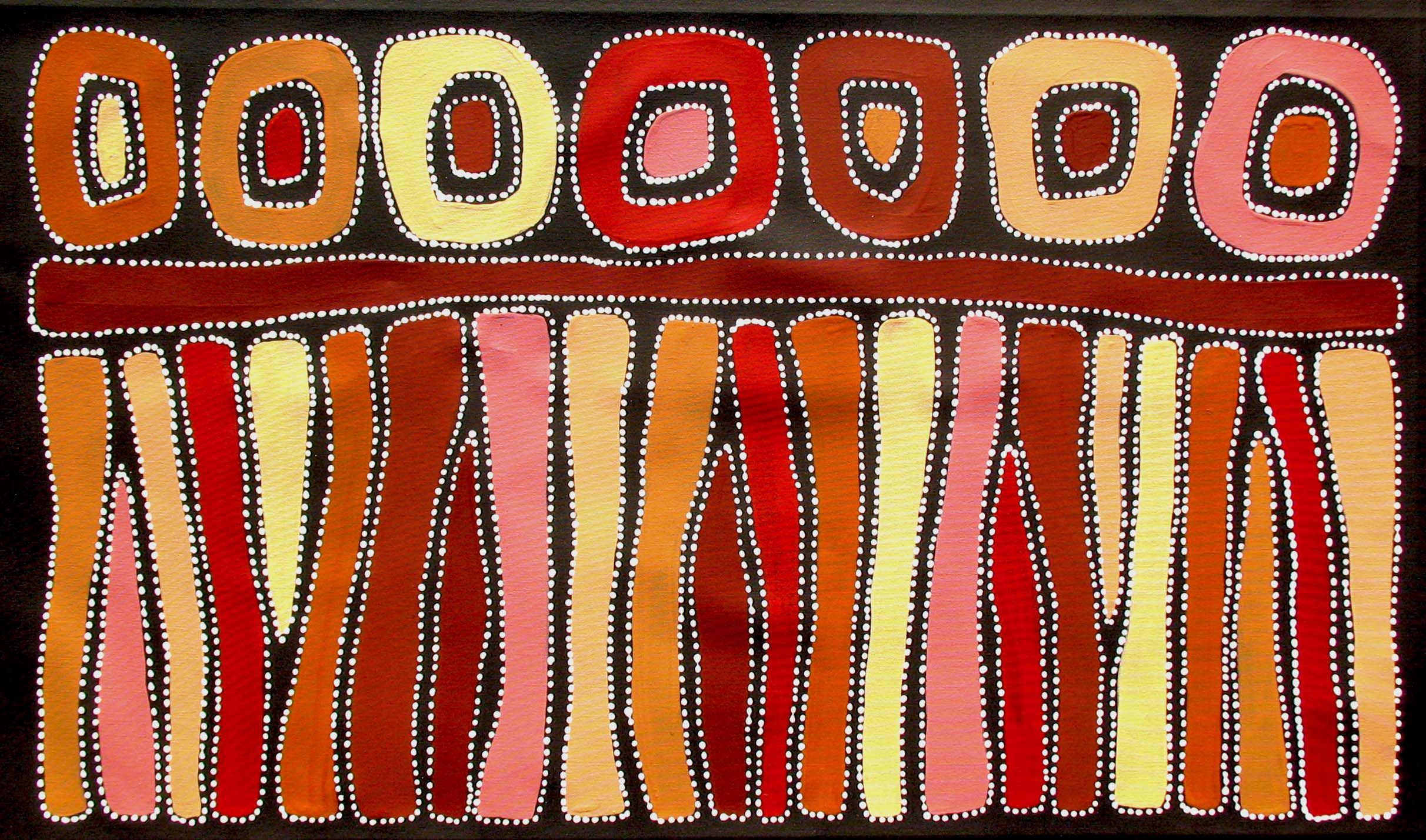 Aboriginal Artwork by Sally Clark. Sold through Coolabah Art on eBay. Cataogue ID 13545