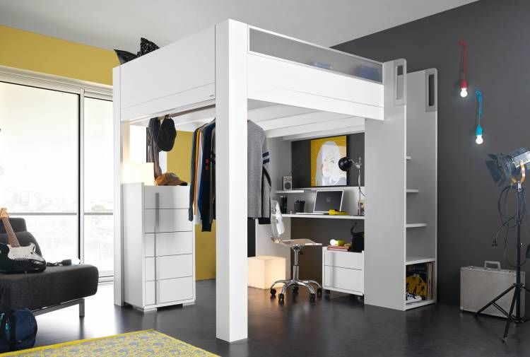 lit haut mezzanine 140x200 lits gain de place gautier chambre high beds bed et. Black Bedroom Furniture Sets. Home Design Ideas
