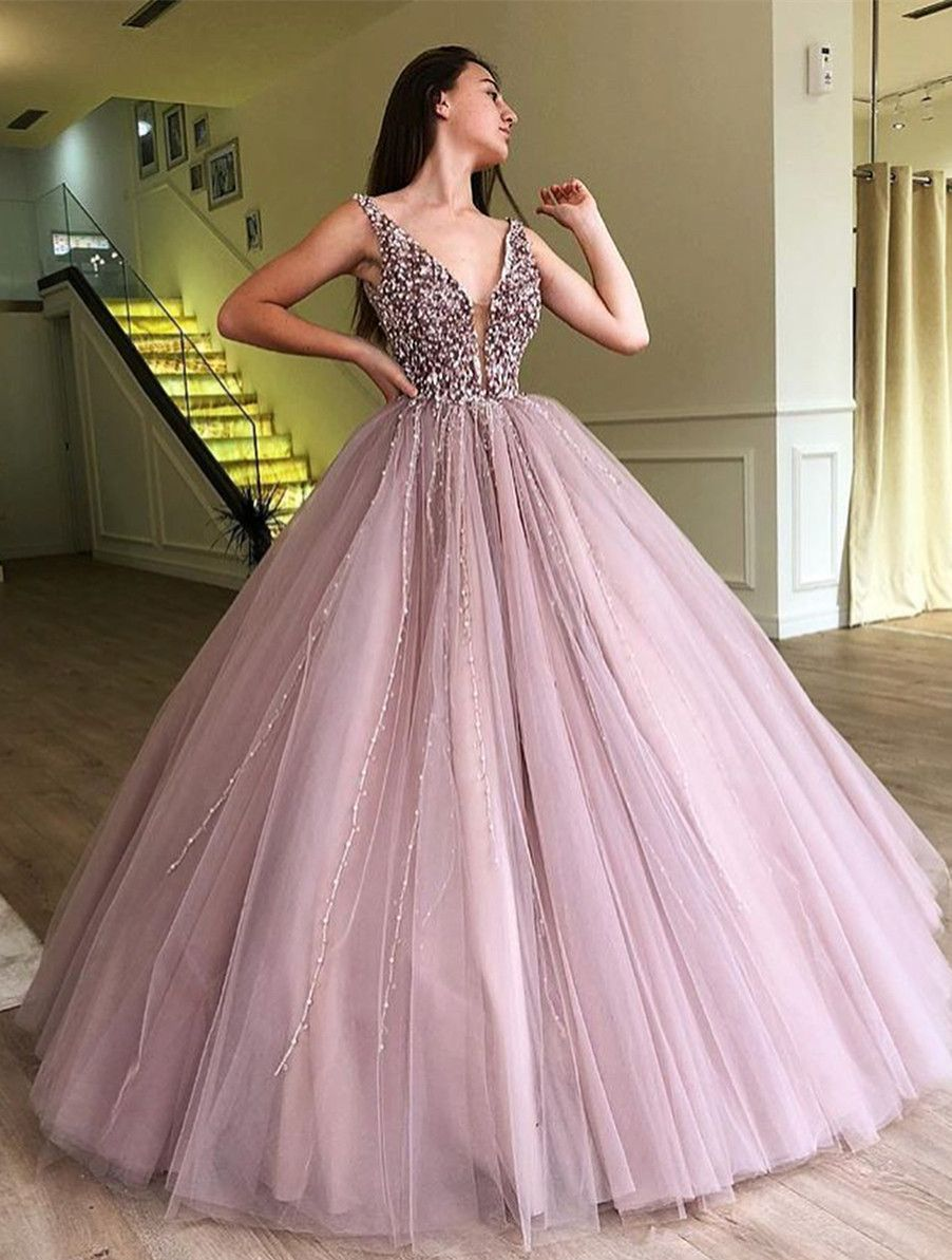 Ball Gown Dusty Pink V Neck Beaded Long Prom Dress in 2019  08c31b9869b5
