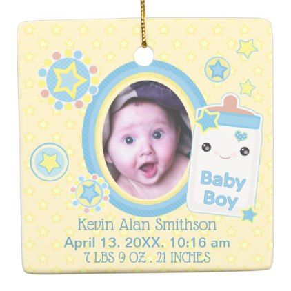 baby boy custom birth announcement ornament diy cyo customize create your own personalize
