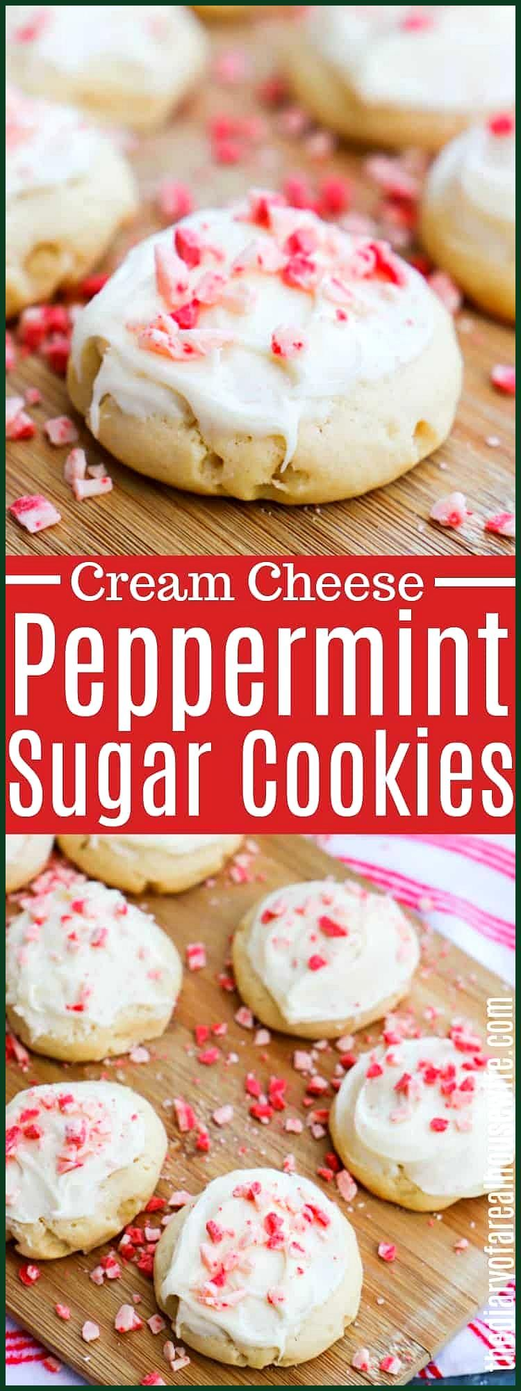 hese Peppermint Sugar Cookies are topped with a peppermint cream cheese frosting and one that you n