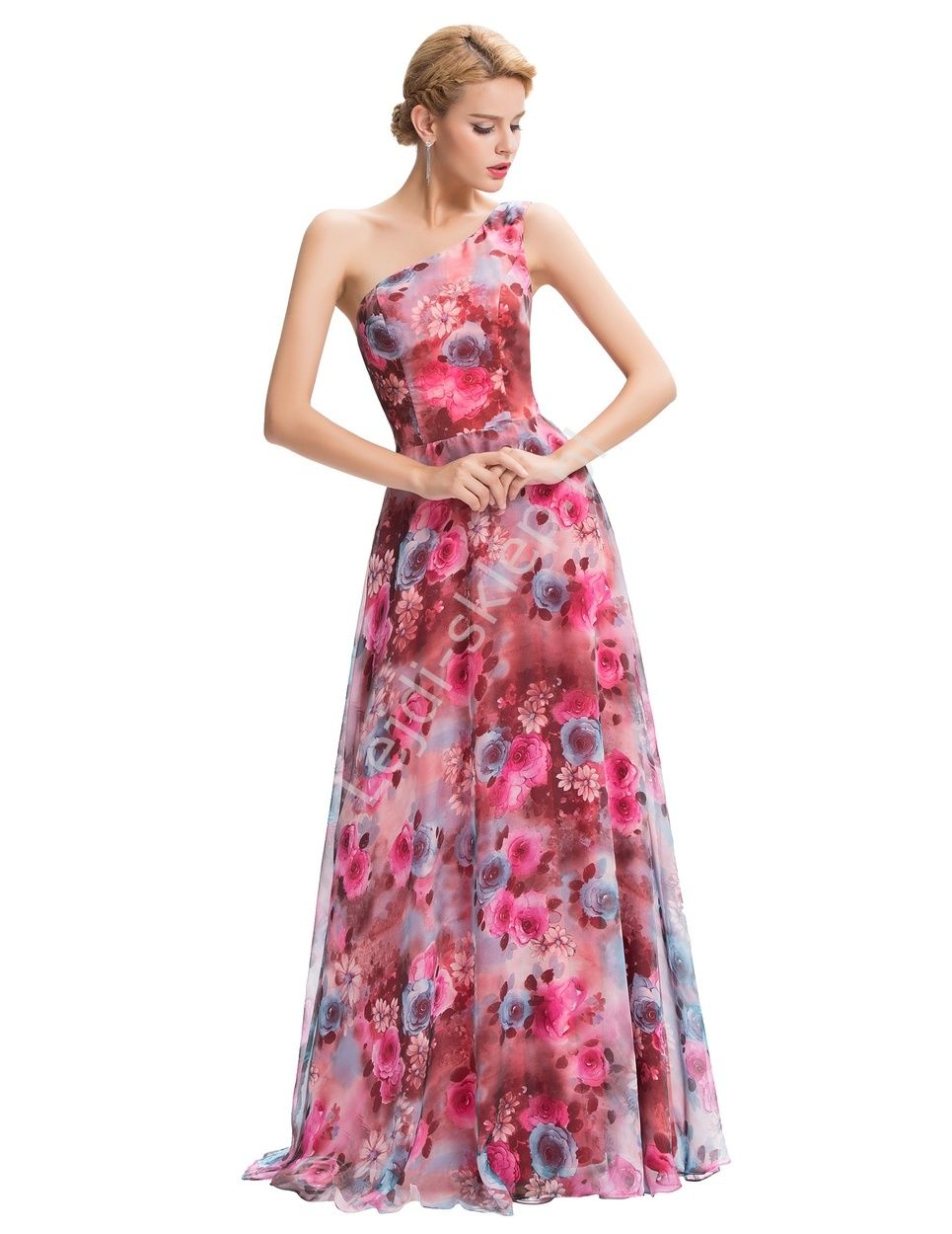 ffcab32aa3 Długa suknia w róże na jedno ramię