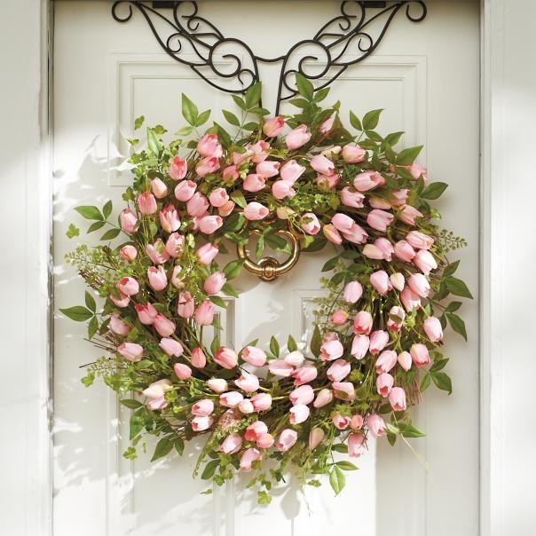 Photo of Pink Tulip Wreath | Grandin Road
