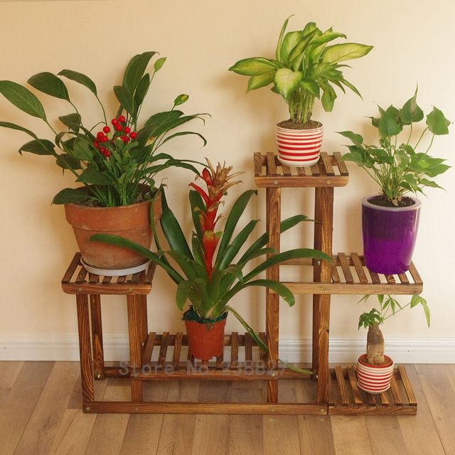 Wood 4 Tier Flower Pot Racks Home Garden Decor Etagere Plant Pot Display Shelf Planter Stand Flower Patio Deck Indoor Outdoor Dekor Iz Rastenij Sadovye Polki Stendy Rastenij