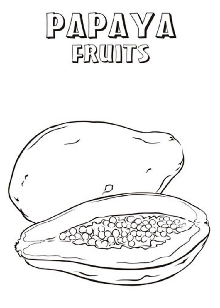 Printable Papaya Fruit Coloring Pages Fruit Coloring Pages Fruits Drawing Papaya Fruits