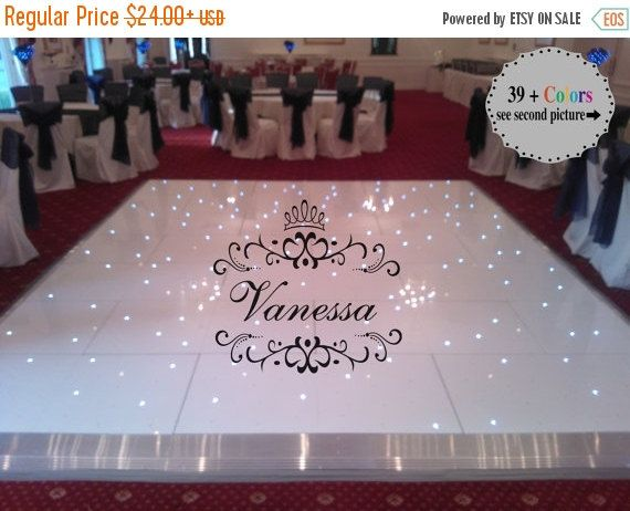 Girls dance floor decal princess crown monogram personalized custom name vinyl birthday party lettering decal large sizes 39 colors