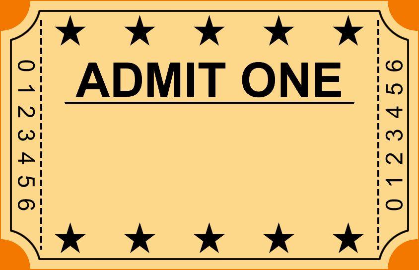 Blank Admit One Ticket Template Blankadmitonetickettemplate