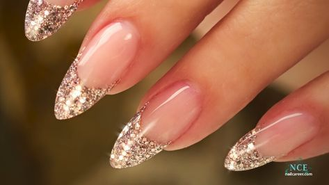 48 ideas nails long almond french gold glitter in 2020