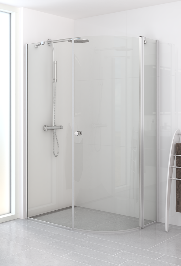 Quadrant hinged door with in-line panel and fixed wall.