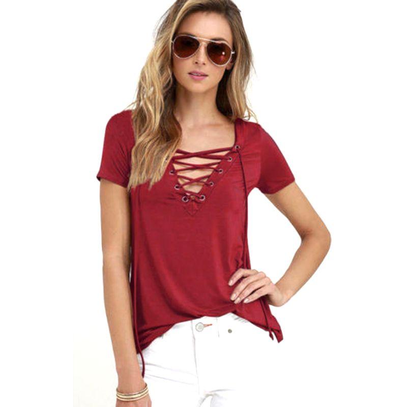Summer Fashion Women T-shirts Short Sleeve Sexy Deep V Neck ...
