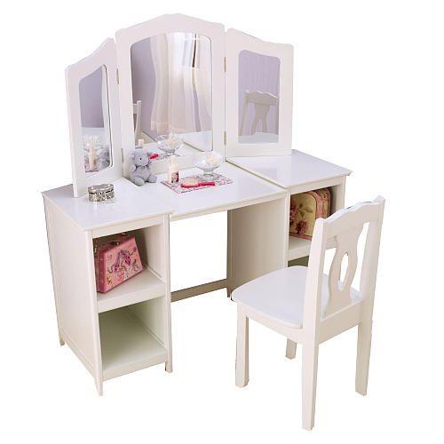 Kidkraft Deluxe Vanity And Chair White Kids Vanity Bathroom Furniture Vanity Vanity Chair