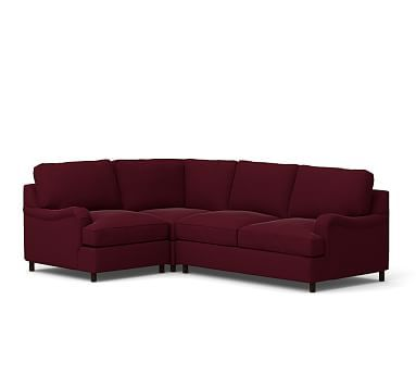 PB Comfort English Arm Upholstered Right Arm 3-Piece Corner Sectional, Box Edge Polyester Wrapped Cushions, Vintage Velvet Claret