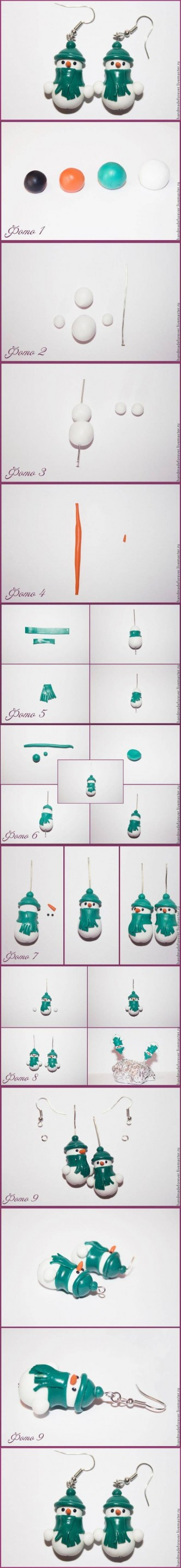 DIY Clay Snowman Earrings DIY Projects