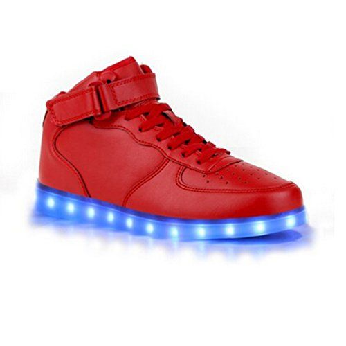 [Present:kleines Handtuch]Rot EU 44, USB Sport Color Men High weise Changing Couple Shoes Flash 7 Unisex Women Casual LED-Licht Charging Top Sneak