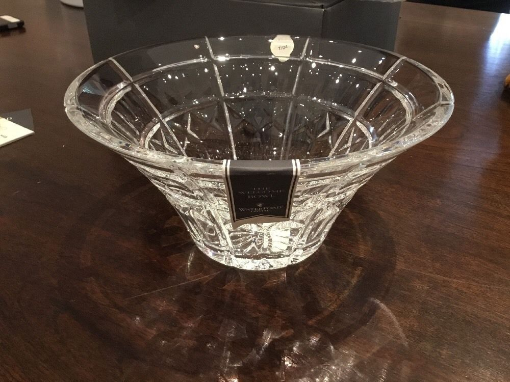 New Waterford Crystal Quot Welcome Quot Flared Display Decorative Centerpiece Bowl Ebay Waterford