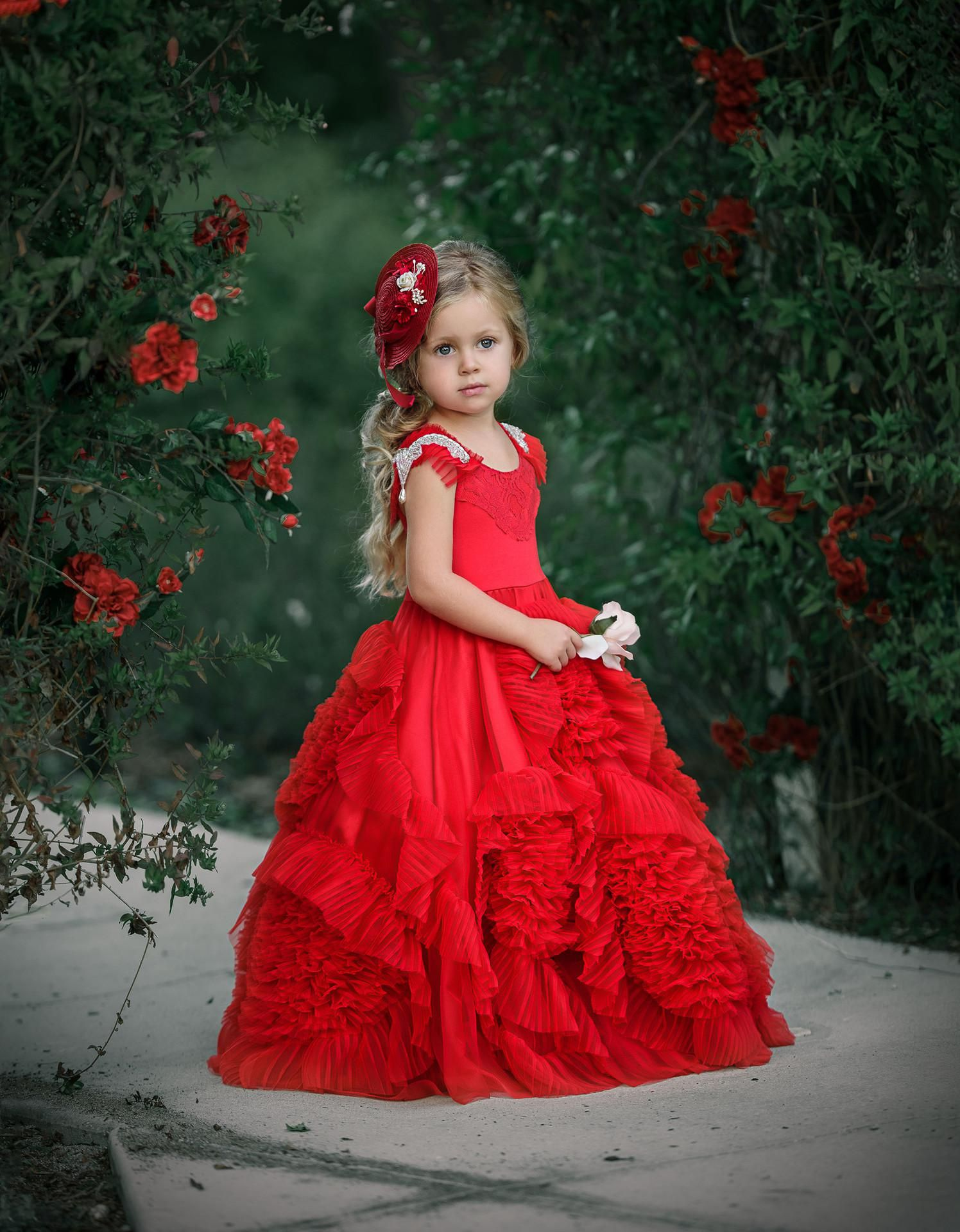 New Children Fashion Flower Red Dress Birthday Party Piano Dance