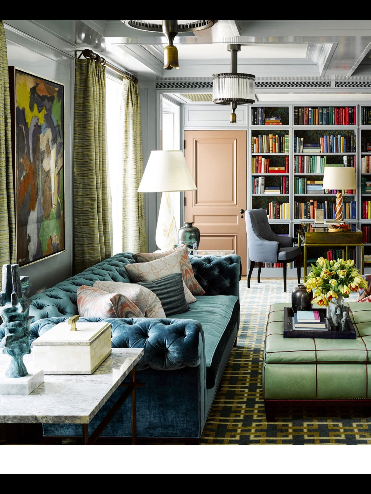 wonderful eclectic living room design nijihomedesign   Spring style!! Modern living room with blue chesterfield ...