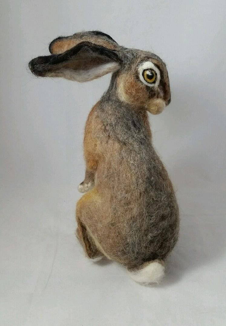 OOAK Needle Felted Realistic Sitting Young Hare Rabbit by Tatiana Trot | #1902937249