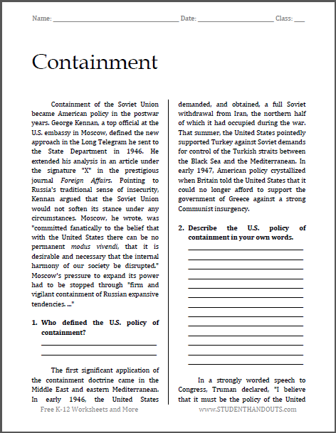 Containment - Cold War Reading with Questions | Free to print (PDF ...