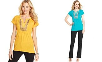 Style&co. Embroidered Sequin Top
