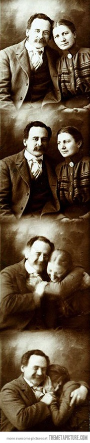 A Victorian couple actually smiling in a photo