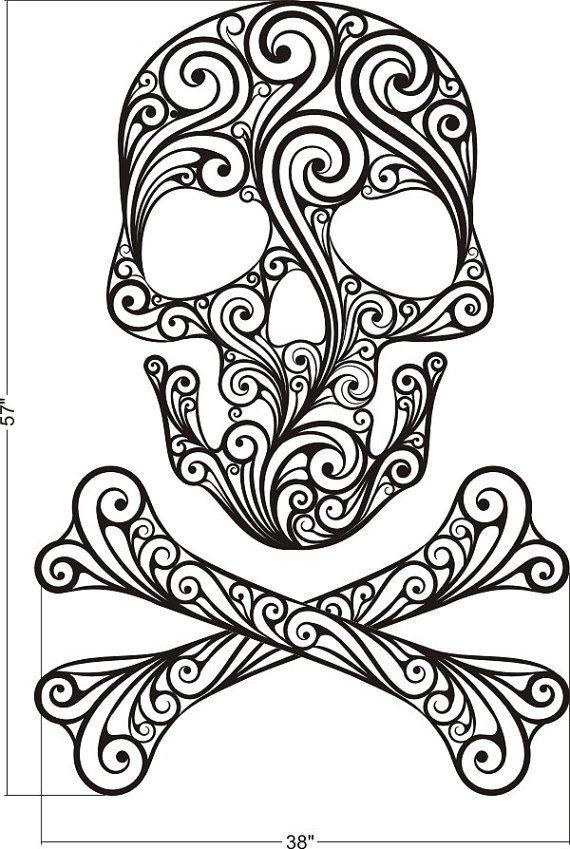wall decal sugar skull crossbones tattoo rock