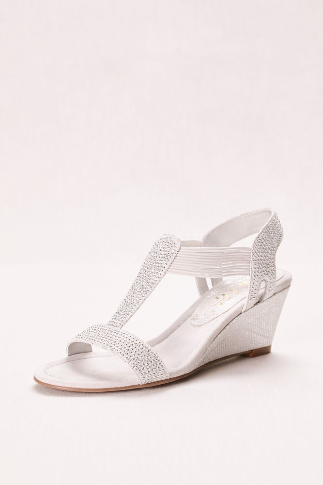 6a5f9044710 Glitter Wedge Sandal with Studded Elastic Straps - Silver