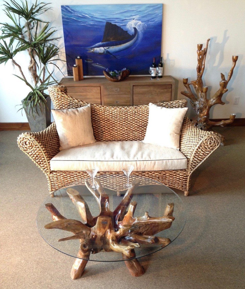 Teak Wood Root Coffee Table Including 43 Inch Glass Top ...