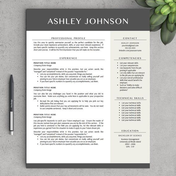 Modern Resume Template for Word and Pages, 1 - 3 Pages + Cover - mac pages resume templates