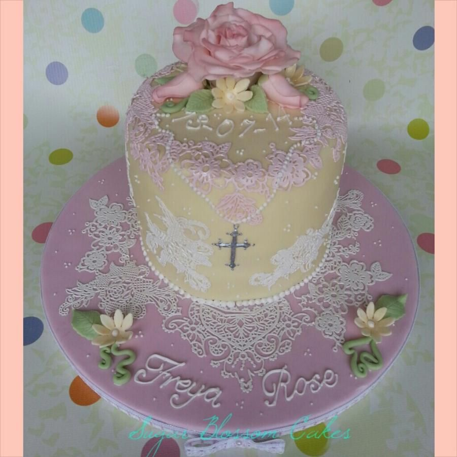 Lace and Rose christening cake