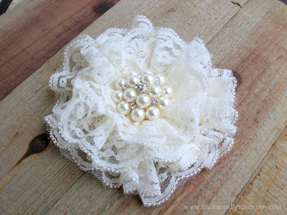 Bridal Ivory Lace Flower Fascinator Hair Clip with by EnchantedlyYours, $25.99  This would be so beautiful on a sash, purse, or hat aside from being worn in your hair.