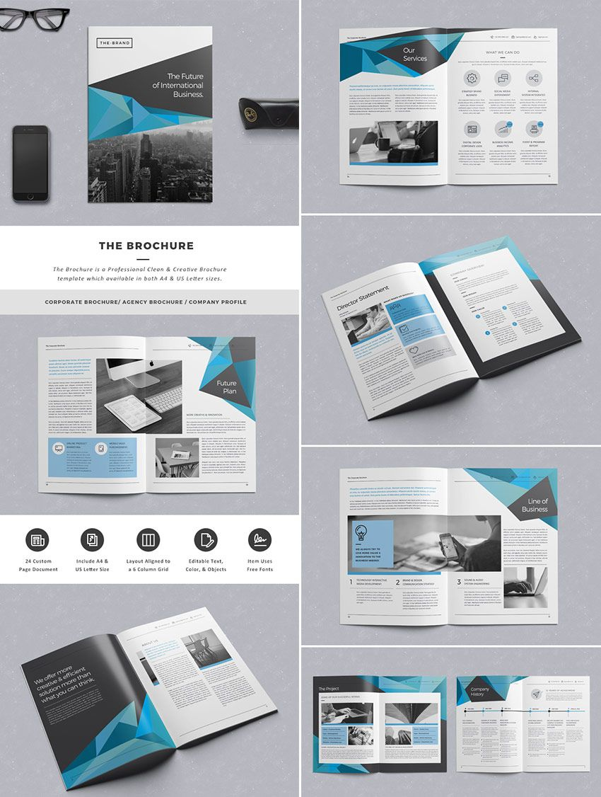The Brochure INDD Print Template Graphic Design Editorial - Business brochures templates