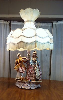 Large Vintage Victorian Capodimonte Lamp W Original Shade Made In