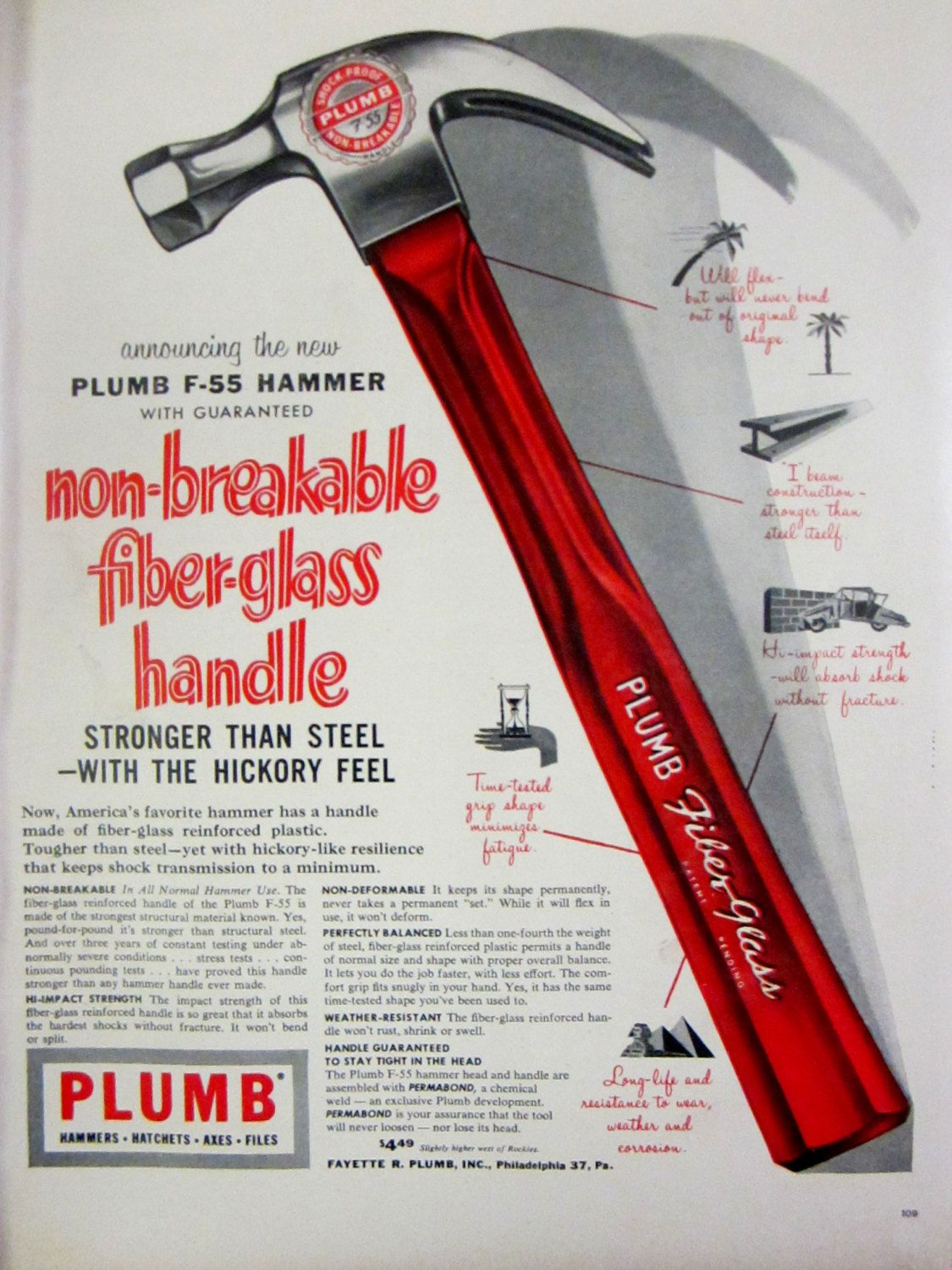 1955 Plumb Hammer Vintage Advertisement Man Cave Wall Art Handyman ...
