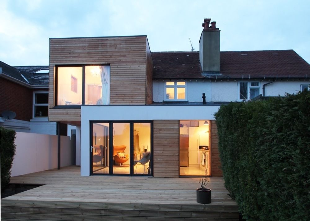 Contemporary Two Storey Extension In Winchester Adam Knibb Architects Contemporary Design In Winchester House Extension Design Flat Roof Extension House Extensions