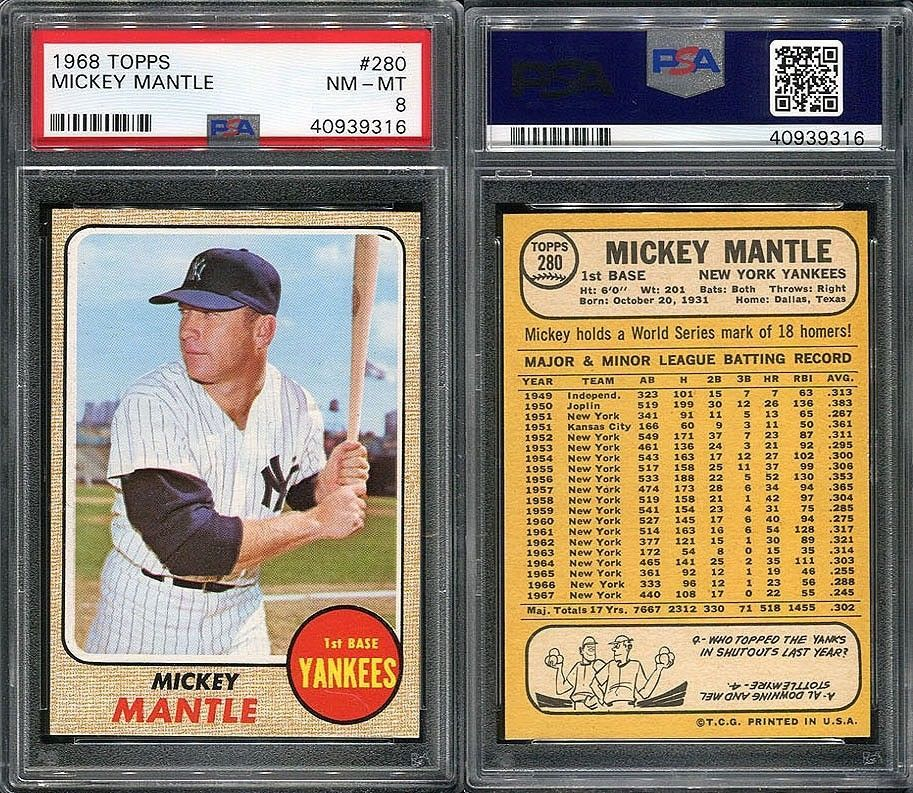 1968 Topps 280 Mickey Mantle Psa 8 9316 Mickeymantle Mickey Mantle Baseball Cards For Sale Baseball Cards