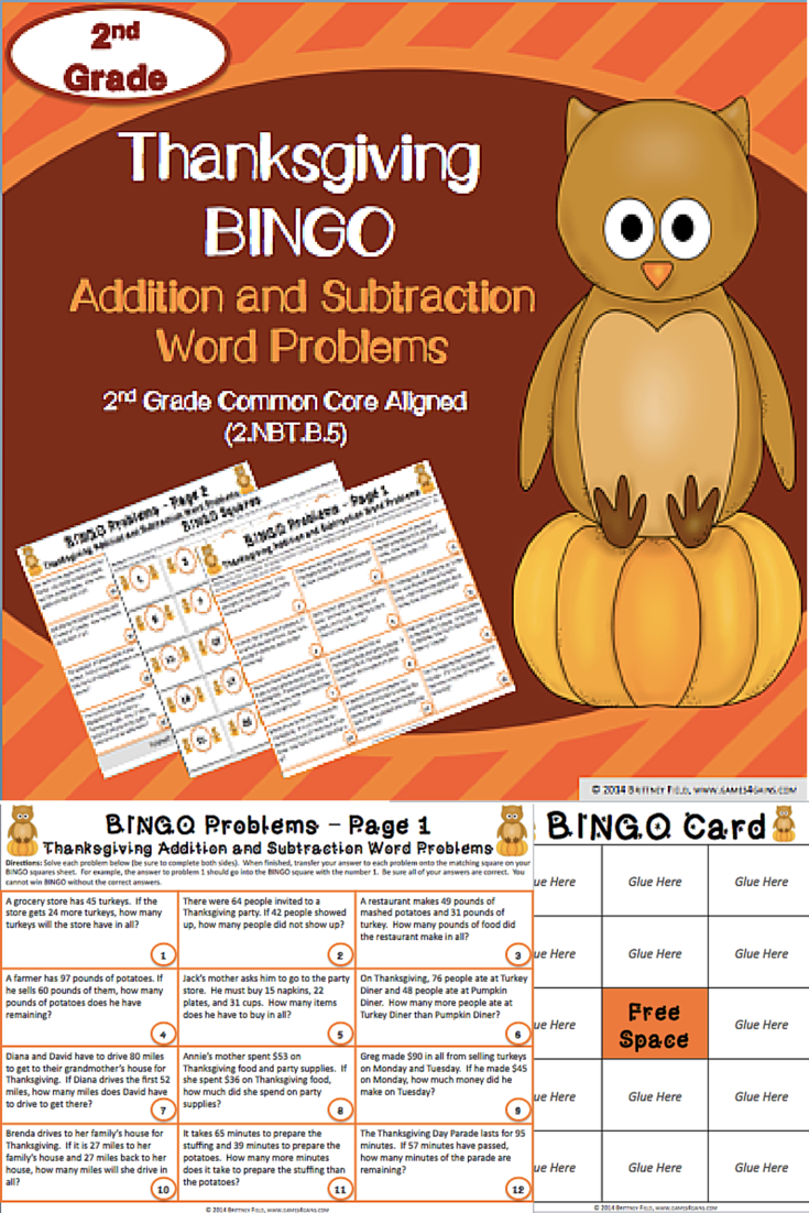 2nd Grade Thanksgiving Activity 2nd Grade Thanksgiving Math Bingo