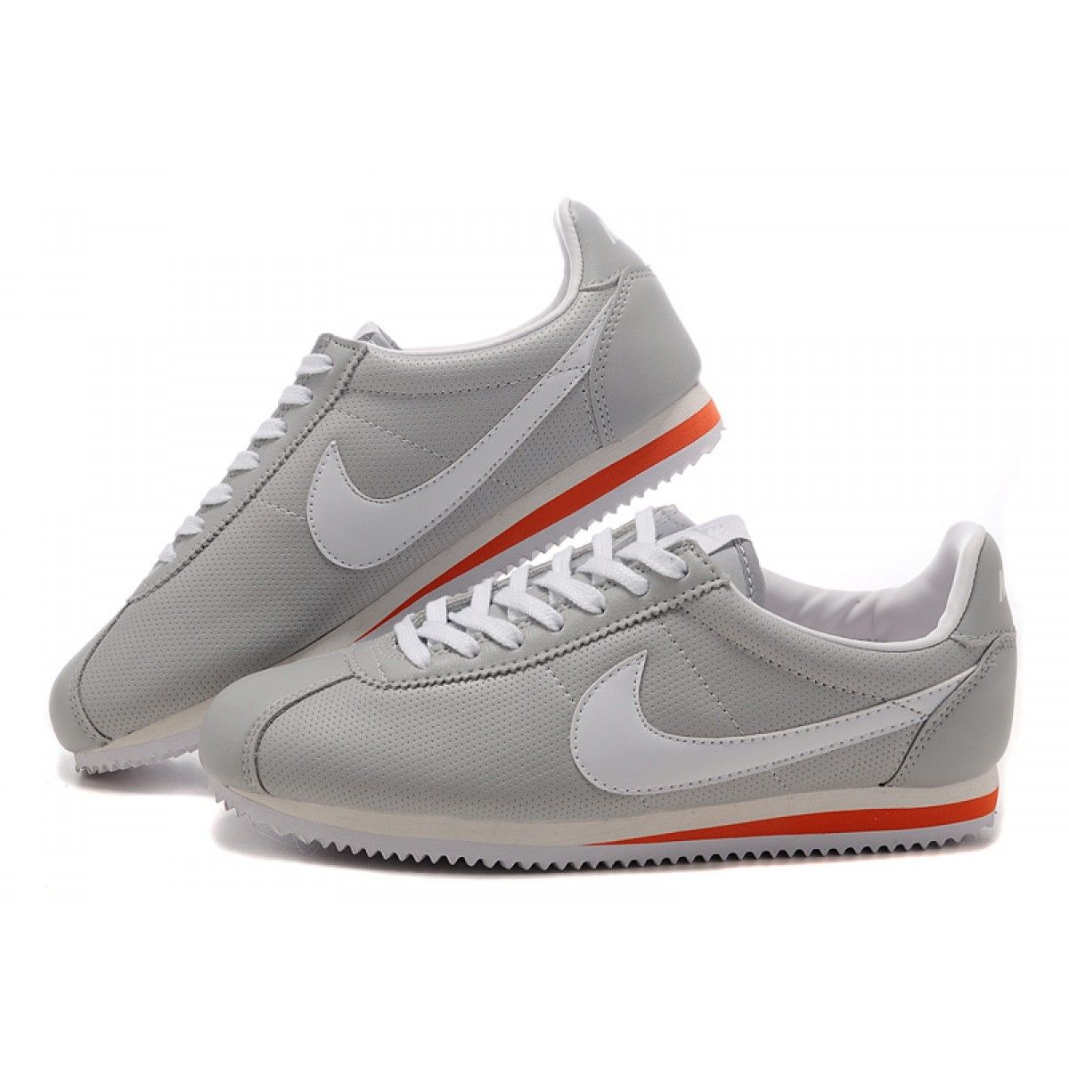 13bfebd595f Nike Cortez Women Leather Shoes Gray White Red