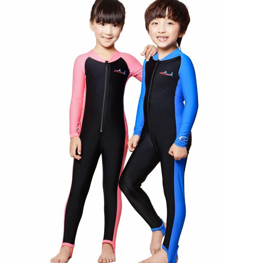 d4ddc20f13 New Unisex Bathing Suit Active Full Sleeve One-piece Swimwear Girls ...
