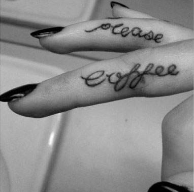 """""""Coffee please"""" tattoo. I think if I was going to get a tattoo this would be it"""