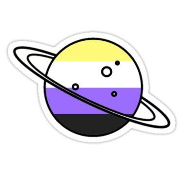 Non Binary Planet Sticker In 2020 Pride Stickers Nonbinary Flag Pride Flags